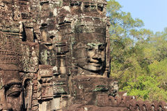 Temples of Angkor - Faces of Bayon temple Royalty Free Stock Photo