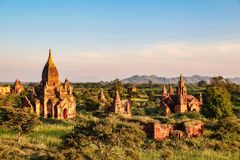 Temples of Bagan in the Mandalay Region of Burma, Myanmar. Temples of Bagan, an ancient city located in the Mandalay Region of Burma, Myanmar, Asia royalty free stock images