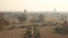 Temples of Bagan complex in the misty day stock video footage