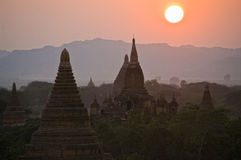 Temples of Bagan in evening. Myanmar (Burma). Royalty Free Stock Images