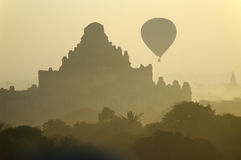 Temples of Bagan with hot air balloon. Myanmar (Burma). Royalty Free Stock Image