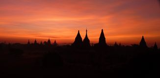 Temples in Bagan Myanmar (Burma) at sunset Stock Image