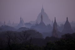 The temples of Bagan in Myanmar at sunrise Royalty Free Stock Photo