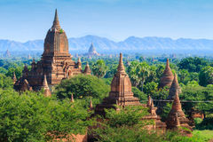 The Temples of bagan at sunrise, Bagan, Myanmar Stock Photos