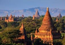 The Temples of Bagan at sunrise, Bagan, Myanmar Stock Photos