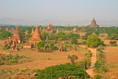 The temples of Bagan at sunrise, Myanmar Stock Photo