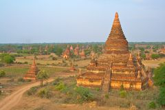 The temples of Bagan at sunrise, Myanmar (Burma) Royalty Free Stock Photo