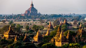 Temples of Bagan. During the sunrise in Myanmar Burma Stock Photography