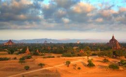 Temples in Bagan at sunrise, Myanmar Stock Photos