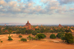 Temples in Bagan at sunrise, Myanmar Stock Image