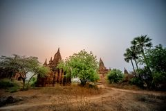 The Temples of , Bagan at sunrise, Myanmar Stock Photo