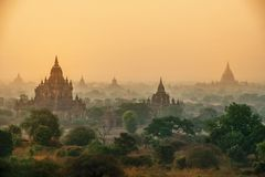 The Temples of , Bagan at sunrise, Myanmar Stock Images