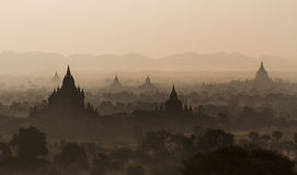 Temples of Bagan during sunrise, Myanmar Royalty Free Stock Photos