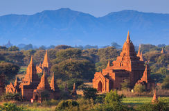 The Temples of Bagan at sunset, Bagan, Myanmar Royalty Free Stock Photo