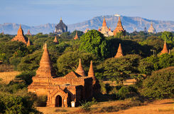 The Temples of Bagan at sunset, Bagan, Myanmar Stock Photo