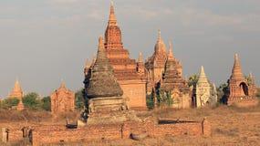Temples of Bagan at sunset 4 Royalty Free Stock Photo