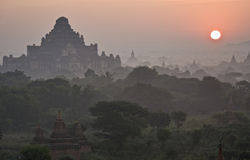 Temples of Bagan at sunset. Myanmar (Burma). Royalty Free Stock Photography