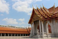 Temples in bangkok, sky, thailand. There are more than 400 wats or temples disseminated all around Bangkok but everyone rushes to three most famous ones: Wat Pra royalty free stock photo