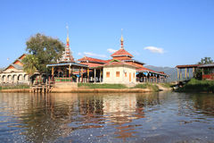 The temples on the banks of the Inle lake, Myanmar Stock Photography