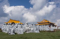 Temples and budha statues. Budha statues on the top of the mountains Wutaishan. These statues were stored on the ground during some reconstruction works in close Stock Photo