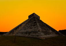 The temples of chichen itza temple in Mexico Royalty Free Stock Image