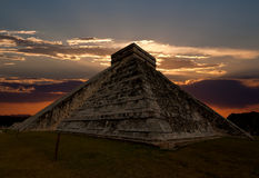 The temples of chichen itza temple in Mexico. One of the new 7 wonders of the world Stock Image