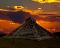The temples of chichen itza temple in Mexico royalty free stock photos
