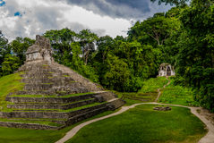 Temples of the Cross Group at mayan ruins of Palenque - Chiapas, Mexico Stock Images