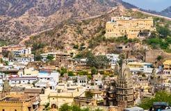 Temples dans la ville d'Amer près de Jaipur, Inde Photographie stock