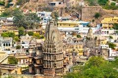 Temples dans la ville d'Amer près de Jaipur, Inde Photo stock