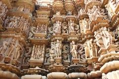 Temples de Khajuraho et leurs sculptures érotiques, Inde Images stock