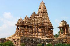 Temples de Khajuraho et leurs sculptures érotiques, Inde Image stock
