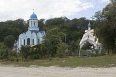 Temples in honor of Martyr Huara and Icon of Our Lady Soothe My Sorrows Trinity-Georgievsky female monastery in village Lesnoye Ad. Ler district Krasnodar region Royalty Free Stock Photo
