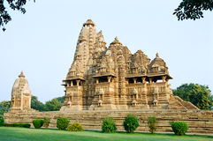 India Erotic Temples in Khajuraho. The temples of Khajuraho, decorated with erotic sculptures, India Royalty Free Stock Photography