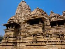 Temples at Khajuraho in India. View at temples at Khajuraho in India royalty free stock photos