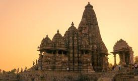 Temples at Khajurao, India at sunset Royalty Free Stock Image