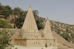 Temples of Lalish, Iraq. Yezidi temples of Lalisg in North Iraq Stock Images