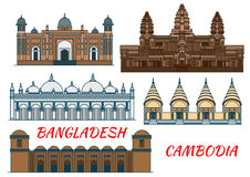 Temples, mosquées d'icône du Cambodge et du Bangladesh Image libre de droits