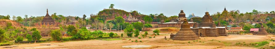 Temples in Mrauk U. Myanmar. High resolution panorama Royalty Free Stock Images