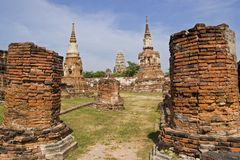 Temples at old Ayuthaya. Temples in Thailand's first capital Ayuthaya Royalty Free Stock Images