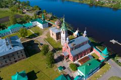 Temples of the Old Ladoga Nikolsky monastery aerial photography. Old Ladoga, Russia. Temples of the Old Ladoga Nikolsky monastery in the sunny day aerial stock photos