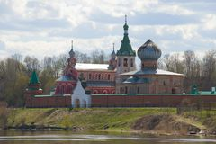 Temples of the Old Ladoga St. Nikolas monastery in the cloudy May afternoon. Old Ladoga, Russia royalty free stock image