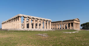 Temples of Paestum Archaeological site, Italy Royalty Free Stock Photos