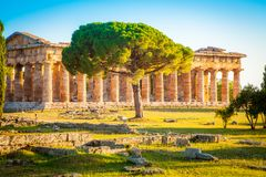 Temples of Paestum at sunset, Salerno, Campania, Italy stock photography