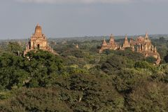 Temples and pagodas of Bagan. Panoramic View of the archaeological park of the ancient temples and pagodas of Bagan. Myanmar stock photography