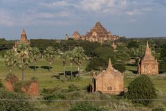 Temples and pagodas of Bagan. Panoramic View of the archaeological park of the ancient temples and pagodas of Bagan. Myanmar royalty free stock photography