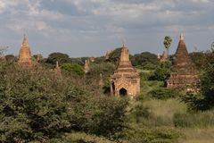 Temples and pagodas of Bagan. Panoramic View of the archaeological park of the ancient temples and pagodas of Bagan. Myanmar stock photo