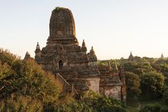 Temples and pagodas of Bagan. Panoramic View of the archaeological park of the ancient temples and pagodas of Bagan. Myanmar royalty free stock image