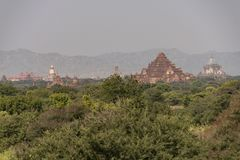 Temples and pagodas of Bagan. Panoramic View of the archaeological park of the ancient temples and pagodas of Bagan. Myanmar royalty free stock photos