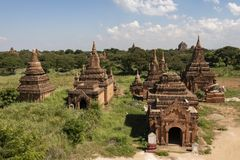 Temples and pagodas of Bagan. View of the archaeological park of the ancient temples and pagodas of Bagan. Myanmar stock image